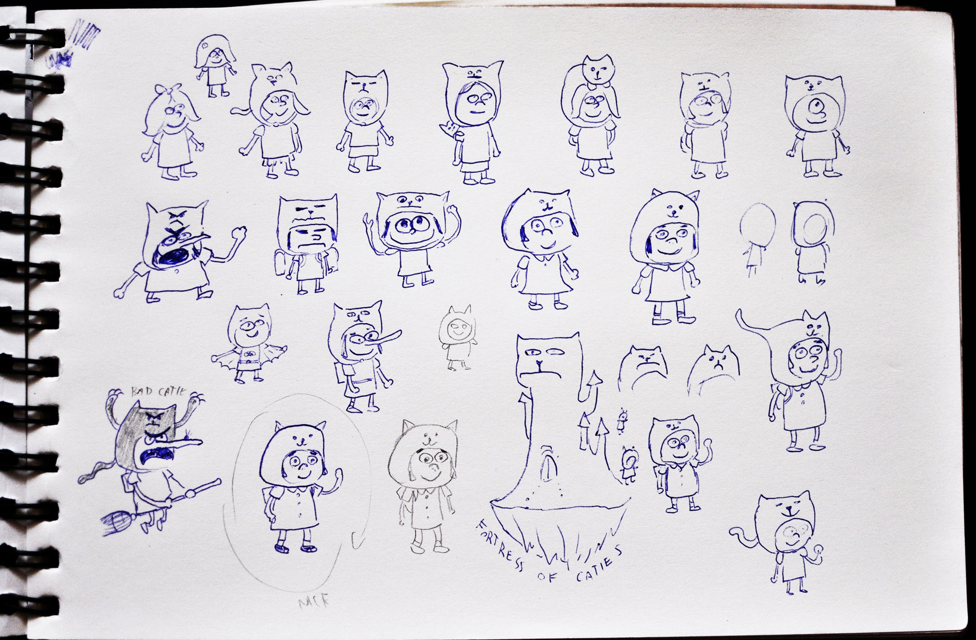Catie in MeowmeowLand - Drawing and sketches of Catie as a main character of point-and-click adventure indie game