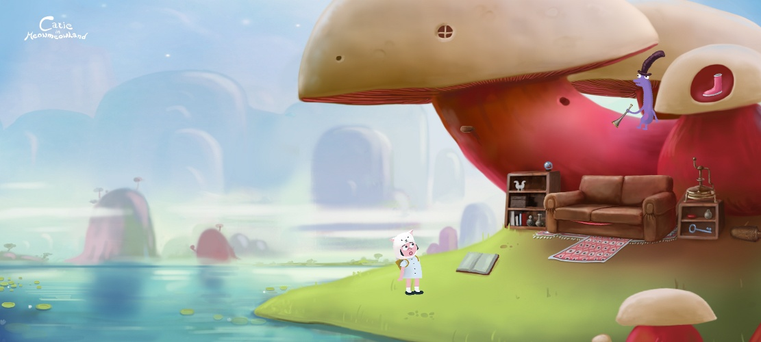Catie in MeowmeowLand - Mashroom level screenshot of point-and-click adventure indie game from Slovakia