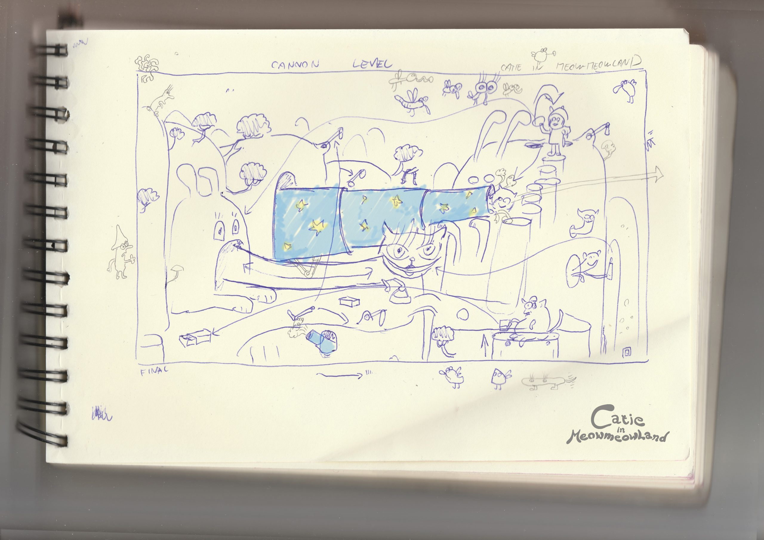 Catie in MeowmeowLand - Doodle illustration - Sketch of Cannon level